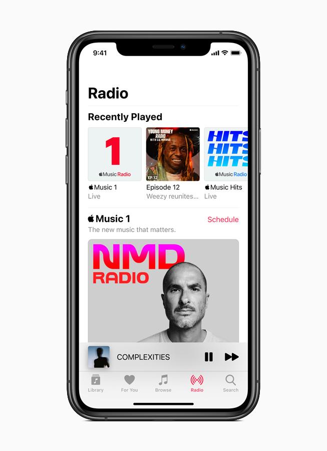 Apple Music Radio su iPhone 11 Pro.
