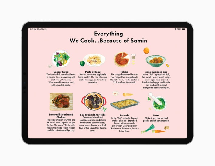iPad showing cooking article.