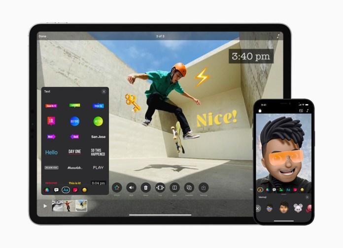 L'interfaccia semplificata di Clips su iPad Air e iPhone 12.