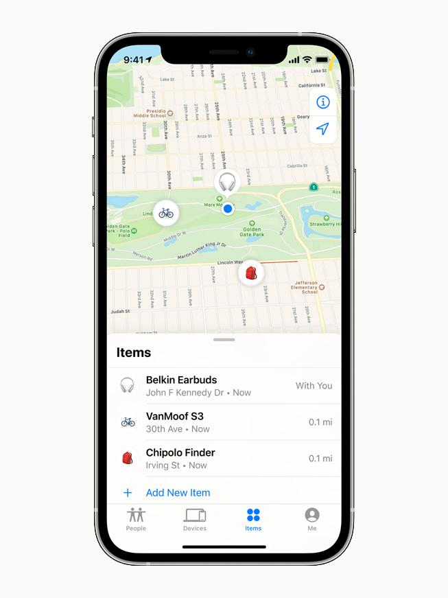 Il pannello Items dell'app Dov'è su iPhone 12 Pro.
