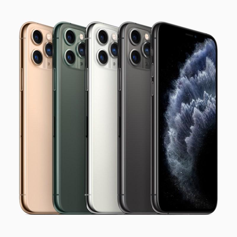 iPhone 11 Pro en acabados verde medianoche, gris espacial, plateado y dorado.