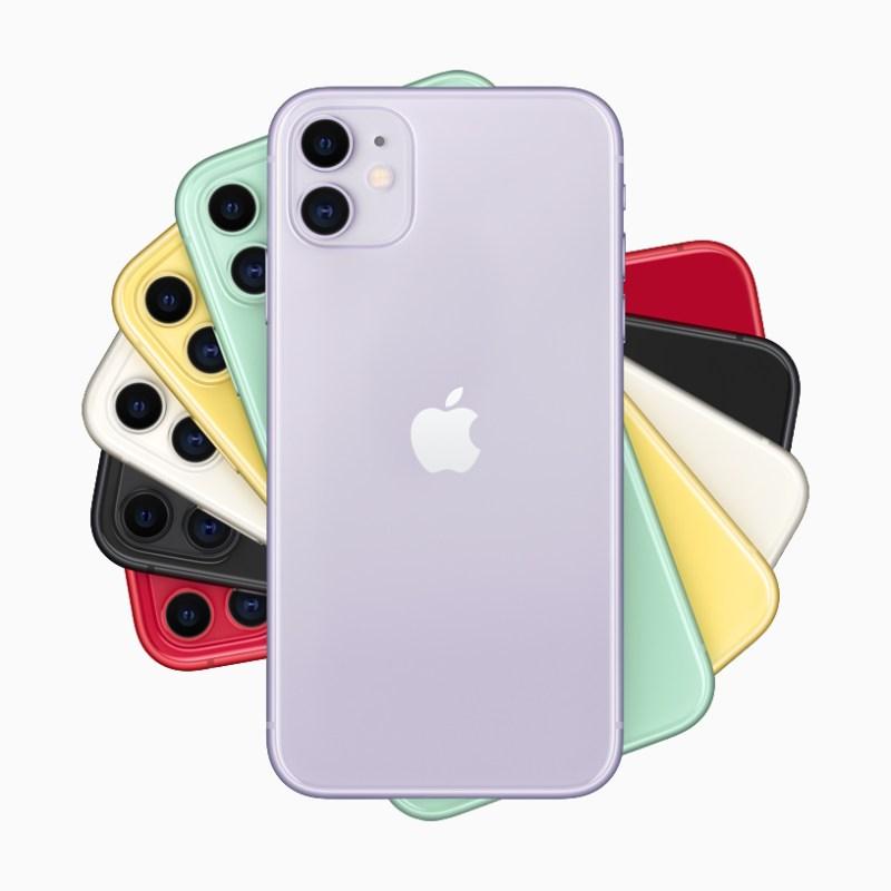 Una pila de iPhone 11 en seis acabados.