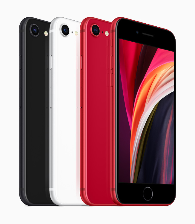 iPhone SE in black, white and (PRODUCT)RED.