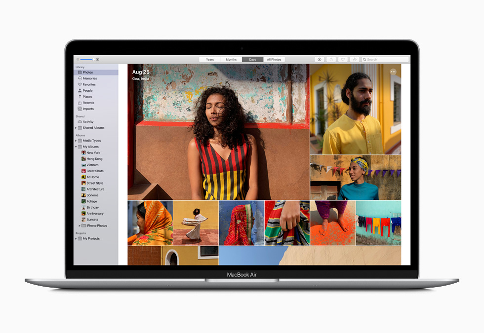 The Photo library on the new MacBook Air.