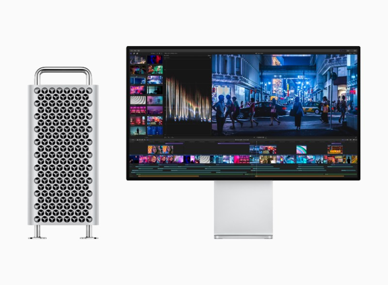 Mac Pro next to Pro Display XDR showing video editing.