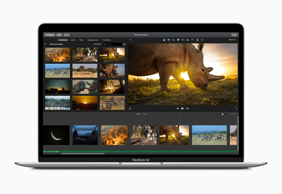 Video editing on the new MacBook Air.
