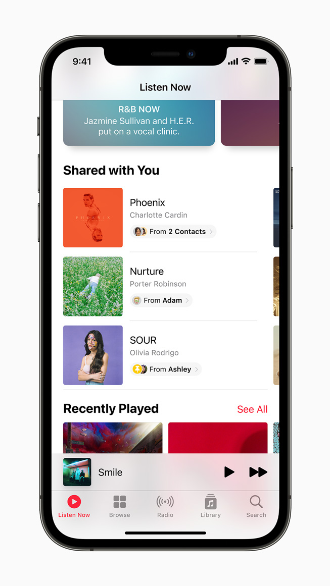 Shared With You feature in Apple Music displayed on iPhone 12 Pro.