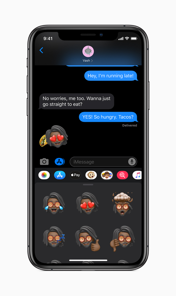 iOS 13 Memoji options in Messages displayed on iPhone.