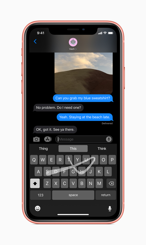 A close-up of the new keyboard on iPhone demonstrating QuickPath one-hand typing.