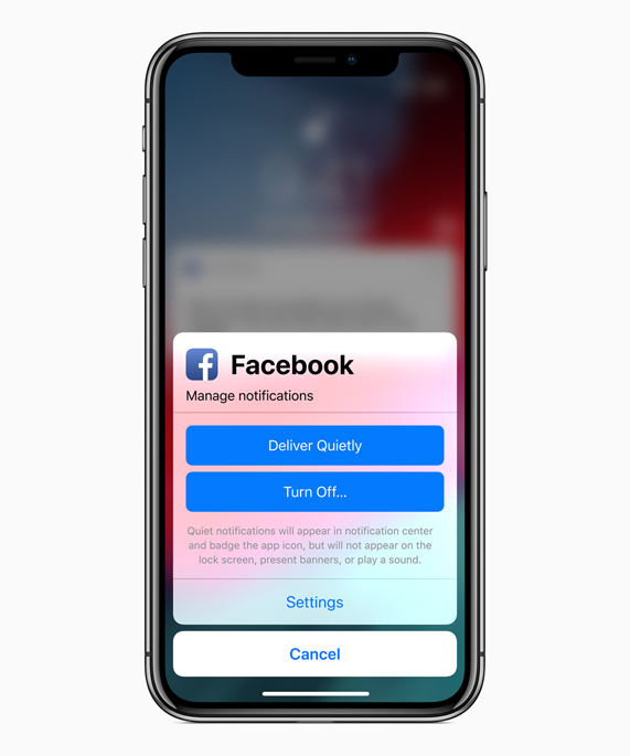 iPhone X screen showing Facebook manage notifications options.