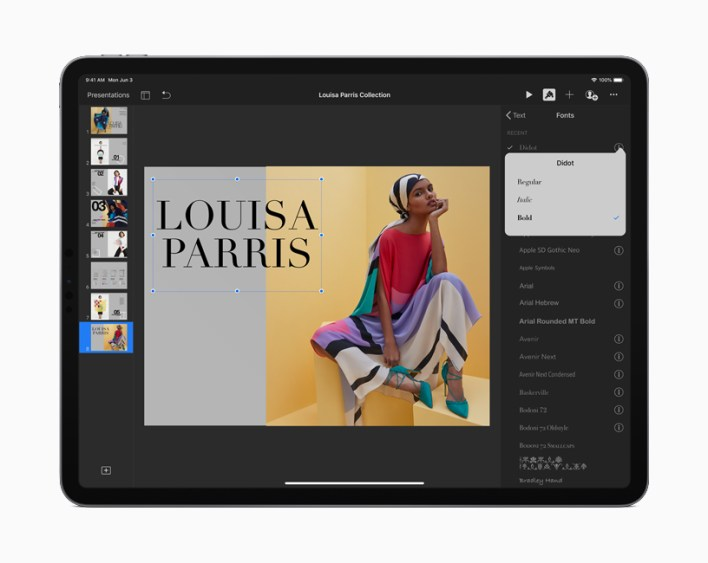 A presentation screen on iPad displaying available fonts in iPadOS.