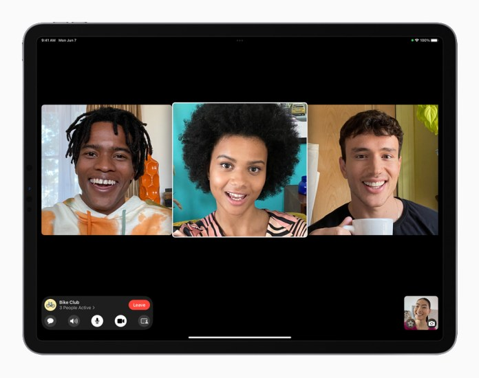 Group FaceTime in iPadOS 15 displayed on iPad Pro.