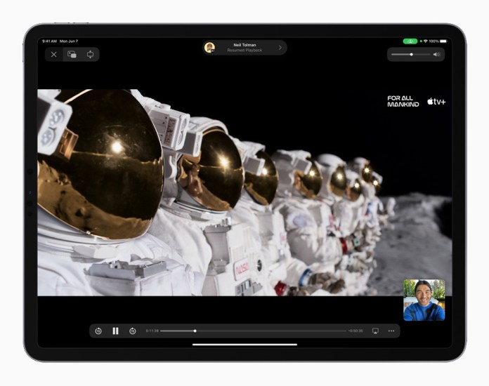 SharePlay in iPadOS 15 displayed on iPad Pro.