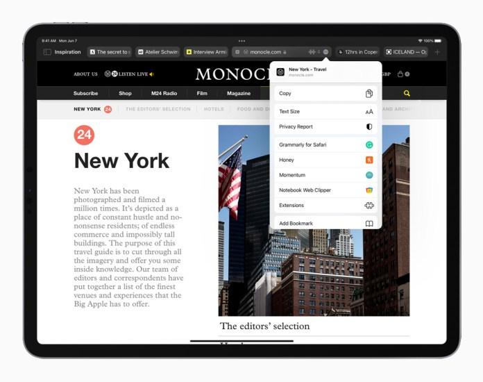 Redesigned Safari page in iPadOS 15 displayed on iPad Pro.