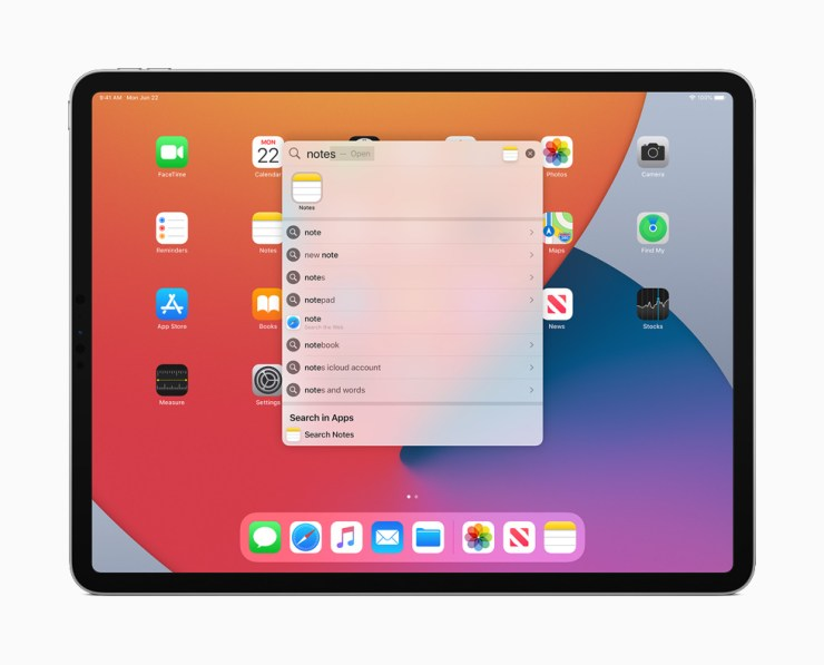 The new Search window in iPadOS 14 displayed on iPad Pro.