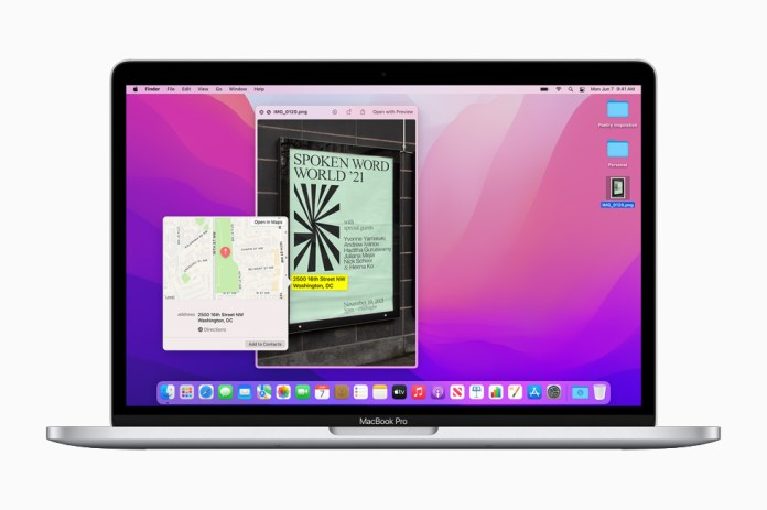 The Live Text and Visual Lookup features of macOS Monterey, displayed on the 13-inch MacBook Pro.