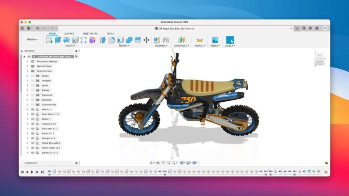 Software di design Fusion 360 su Mac.