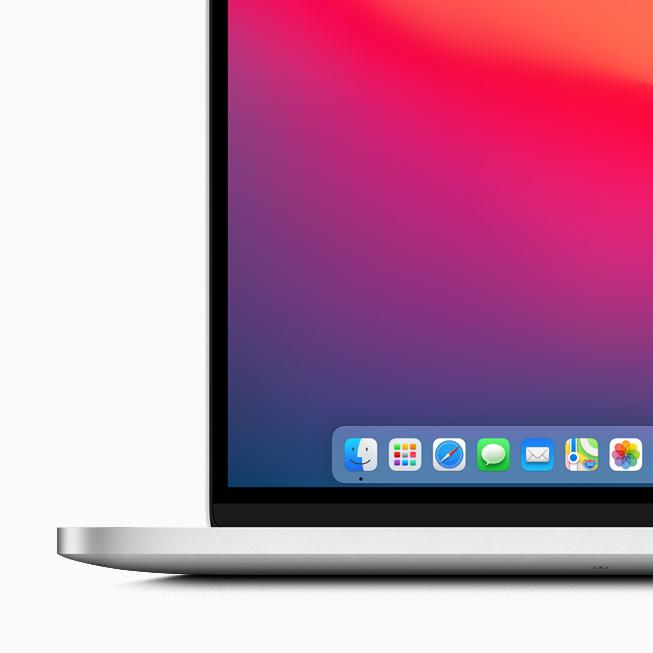 Il nuovo Dock in macOS Big Sur visualizzato su MacBook Pro.