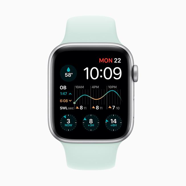 The Dawn Patrol app displayed on Apple Watch Series 5.