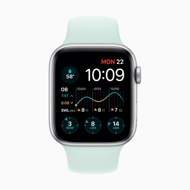 The Dawn Patrol app displayed on Apple Watch Series 5.