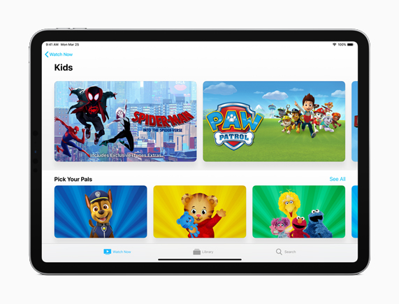 iPad showing Kids section.