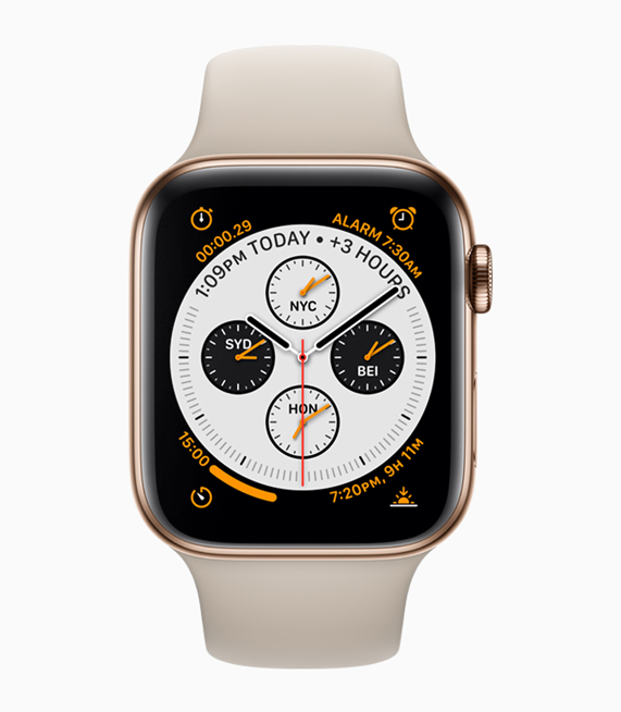A front view of Apple Watch in gold stainless steel.