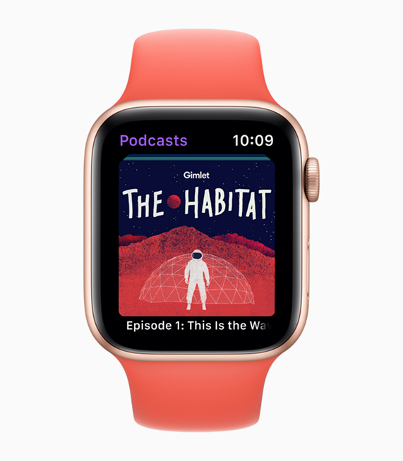 A snapshot of Gimlet's The Habitat podcast on Apple Watch.