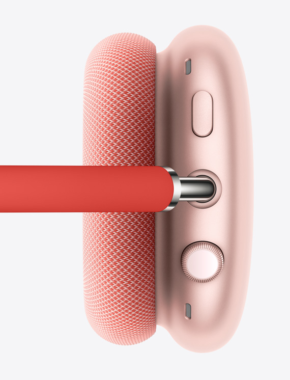 Image shows Digital Crown and Noise Control buttons on right earcup in pink.