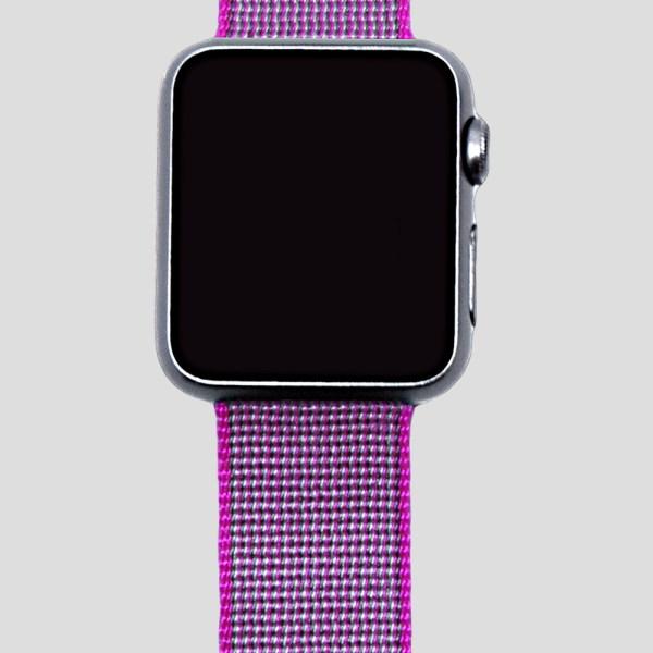 Rosa vävt nylonarmband för Apple Watch