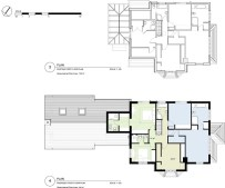 Existing & proposed first floor plan