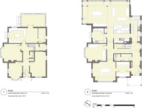 Existing & proposed ground floor plan