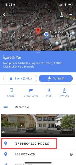 Google Haritalar GPS Verileri