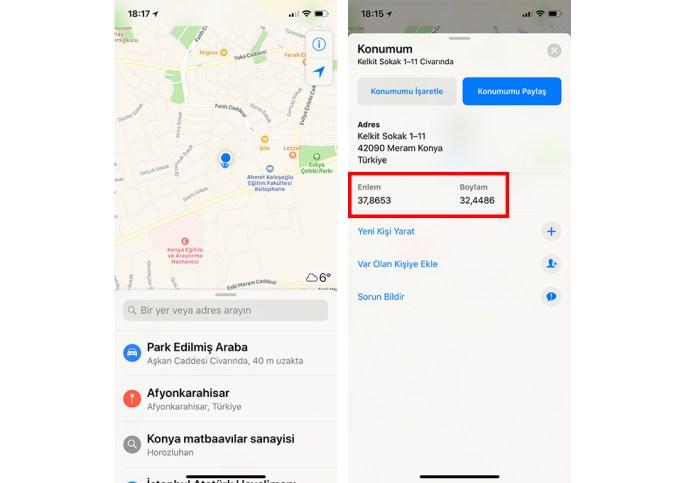 iPhone Konum GPS Tespiti