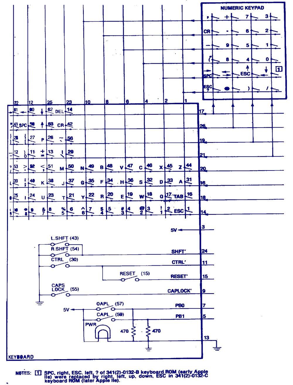 medium resolution of apple iie keyboard schematic applefritterapple iie keyboard schematic