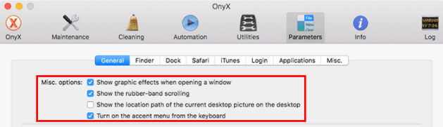 customize macos onyx-general-misc-menu
