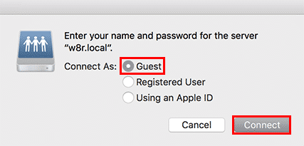 macos server connect as guest