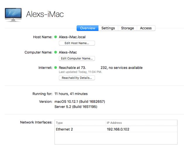macos server details