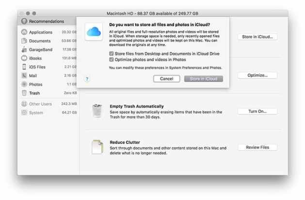 purgeable space store in icloud