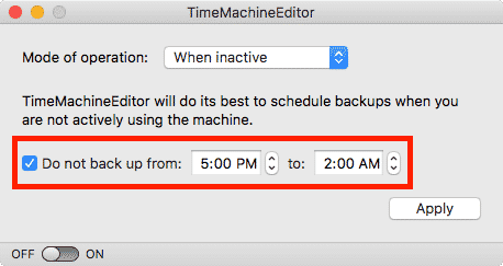 customize time machine backups