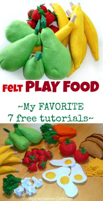 Felt play food tutorial with free patterns. Wouldn't this felt play food make a wonderful DIY present for a child?