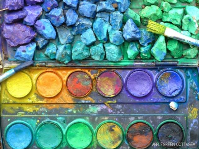 rainbow pebbles using watercolors