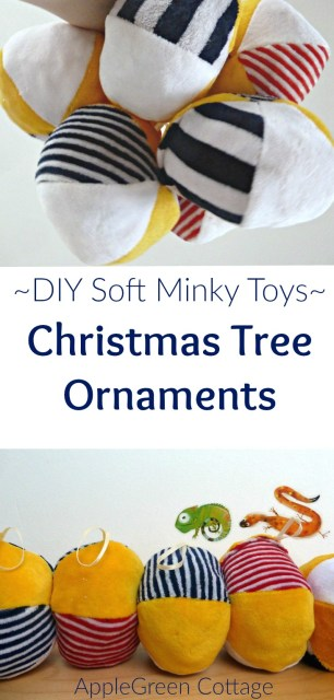 A soft DIY cuddly Christmas tree ornament, with a link to my tutorial