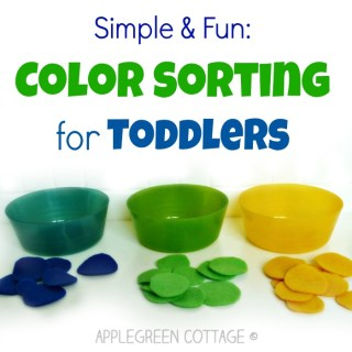 Color sorting for toddlers using felt scraps