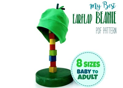 sewing pattern for an earflap beanie hat for kids