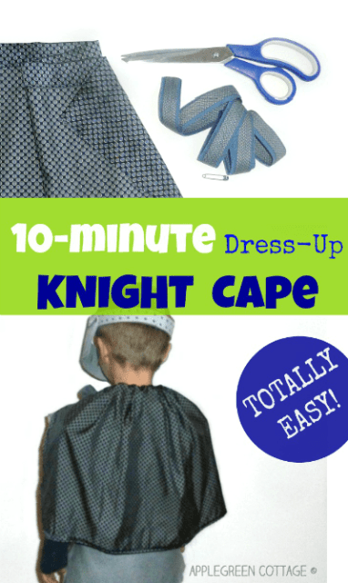 Let me show you a quick and easy way to make a simple DIY knight cape for kids' pretend play. {The easiest ever!} It's an ideal last-minute Halloween kids costume when you are running out of time!