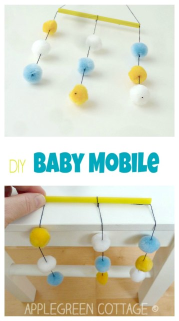 A simple, incredibly light take-me-anywhere DIY crib mobile for your baby. Want to know how to make it? Here it is, a simple and free baby mobile tutorial for you.