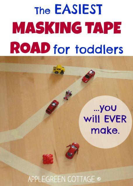 diy masking tape road for kids