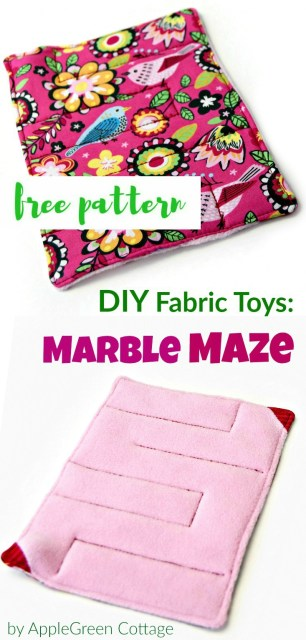 Free PDF sewing pattern and beginner tutorial for a cute fabric marble maze toy for kids. A great DIY present for kids that's easy and quick to make!