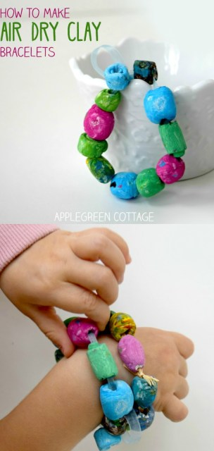 diy bracelet out of air dry clay, easy diy gift for mothers day