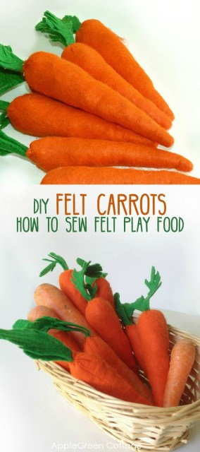 How to sew felt carrots - tutorial and free sewing pattern. One of my favorite free felt play food tutorials.